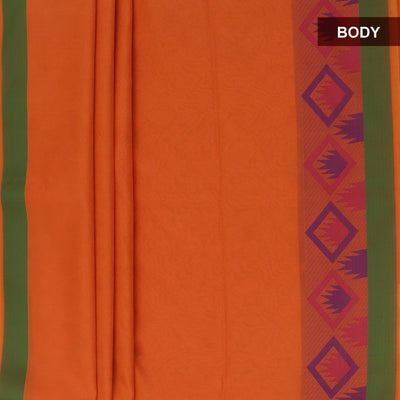 Mercerised Cotton Saree Orange with emboss and temple border