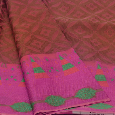 Banarasi Organza Saree Brown and Pink with Temple border