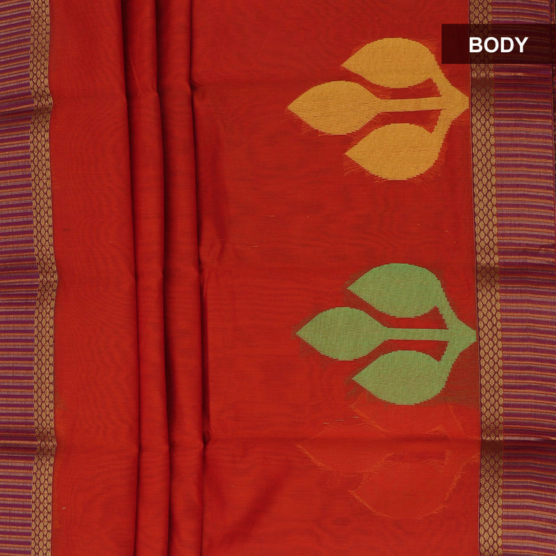 Mercerised Cotton Saree Orange with leaf design and zari border
