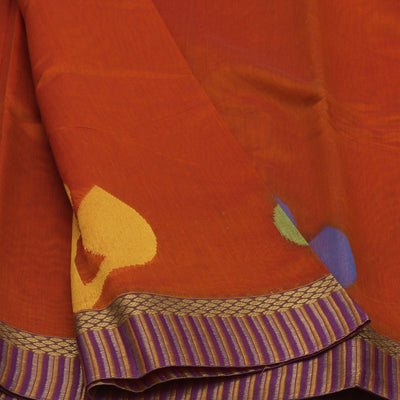 Mercerised Cotton Saree Mustard with leaf design and zari border