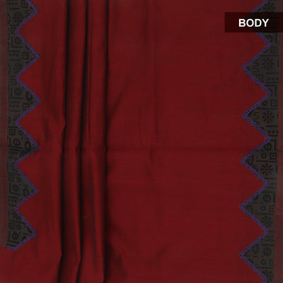 Mercerised Cotton Saree Maroon and Grey with applique work for Rs.Rs. 1355.00 | by Prashanti Sarees