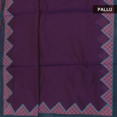 Mercerised Cotton Saree Purple and Pink with applique work