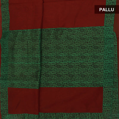 Mercerised Cotton Saree Maroon and Green with Printed border