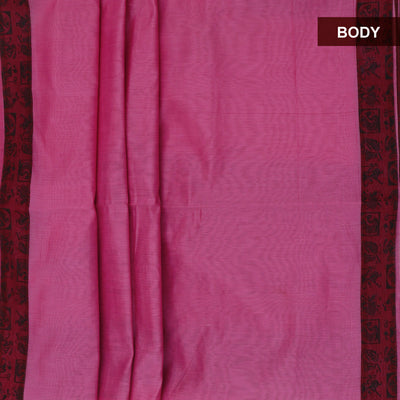 Mercerised Cotton Saree Pink and Maroon with Printed border