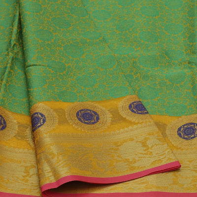 Banarasi Organza Saree Green and Yellow with Leaf zari border