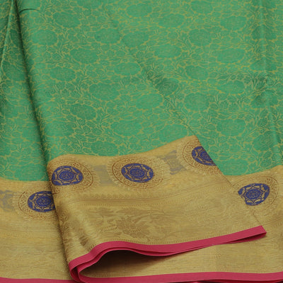Banarasi Organza Saree Green and Sandal with Leaf zari border for Rs.Rs. 1590.00 | Banarasi Organza by Prashanti Sarees
