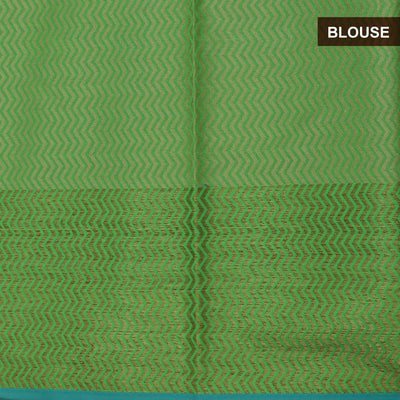Banarasi Organza Saree Light Green and Green with Leaf zari border