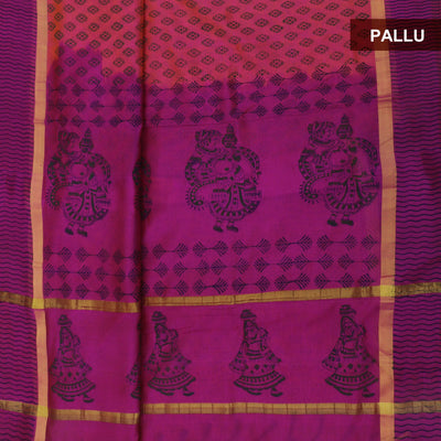 Silk Cotton Saree - Pinkish Orange and Pink with simple border 9 yards