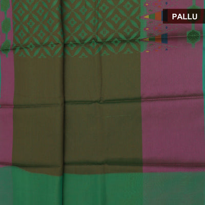Banarasi Organza Saree Green and Pink with temple thread border