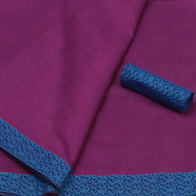 Mercerised Cotton Saree Purple and Blue with Printed Border