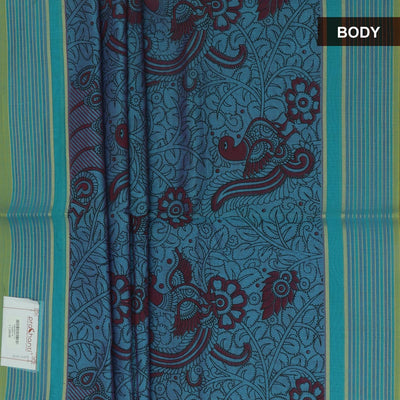Mercerised Printed cotton Saree Blue and Maroon with Peacock Design