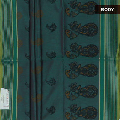 Mercerised Printed cotton Saree Green with Mango design