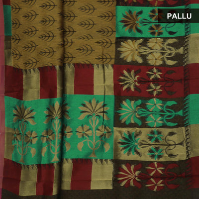 Banarasi Organza Saree Brown and Black with Floral border