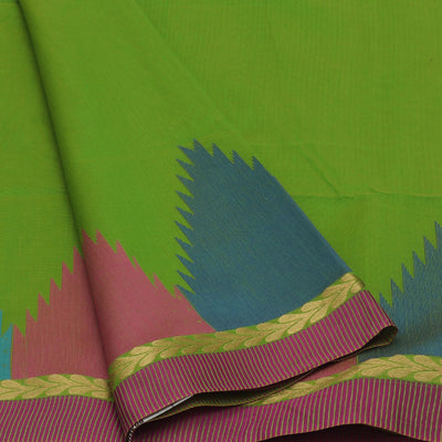 Mercerised Cotton Saree Green with Temple thread border
