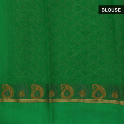 kora silk saree yellow and green with mango border