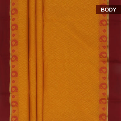 kora silk saree yellow and marron with mango border