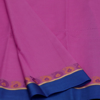 kora silk saree light pink and violet with mango border