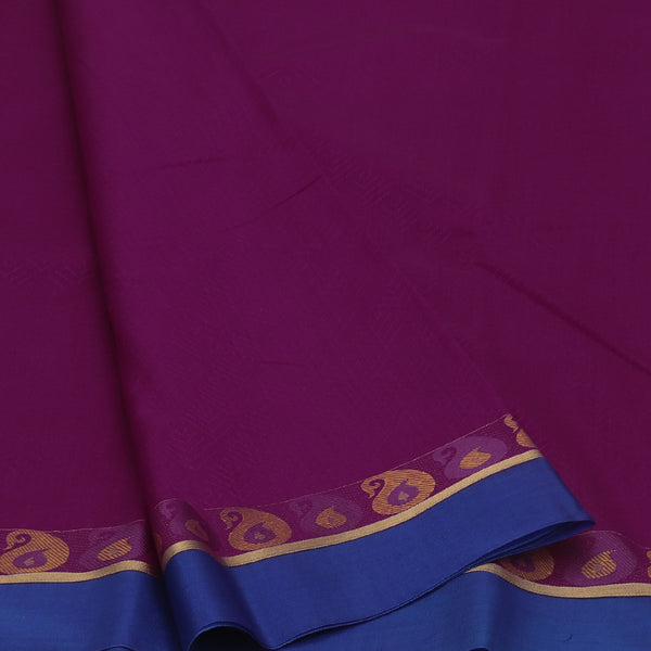 kora silk saree purple and violet with mango border