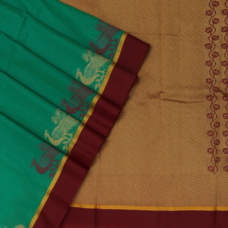 kora silk saree green and maroon with peacock border