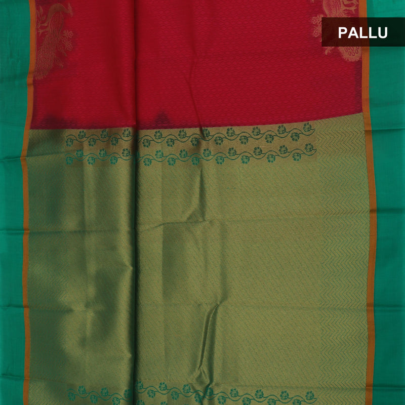 kora silk saree Peach and green with peacock border