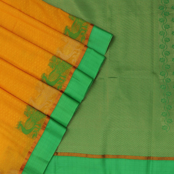 kora silk saree yellow and green with peacock border