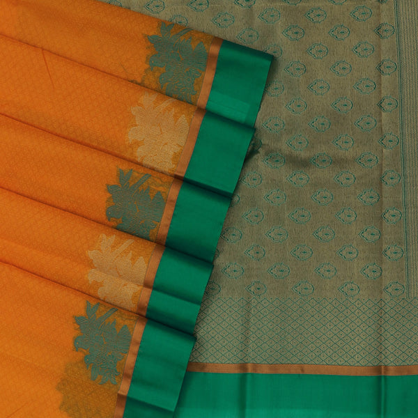 Kora Silk Saree Yellow and Green with Parrot border