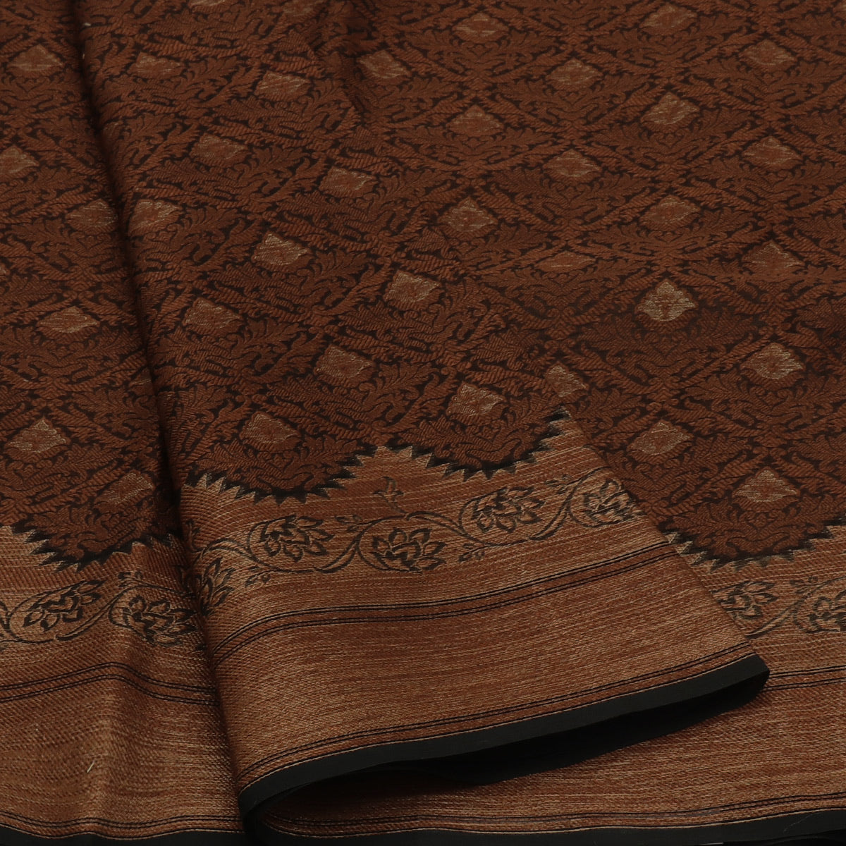 Banarasi Organza Saree Brown with Simple thread border