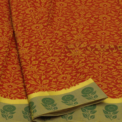 Chanderi Cotton Saree Red and Green with Floral border for Rs.Rs. 990.00 | Chanderi Cotton by Prashanti Sarees