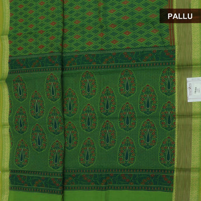 Chanderi Cotton Saree Green with Ikkat border