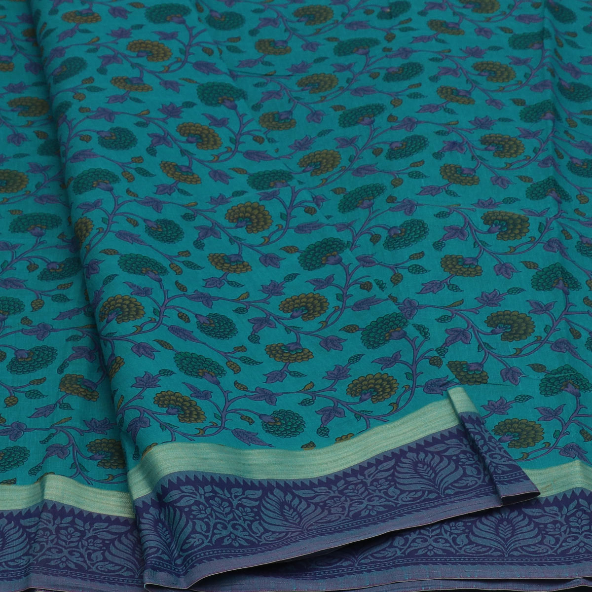 Chanderi Cotton Saree Sky Blue with Simple border for Rs.Rs. 990.00 | Cotton Sarees by Prashanti Sarees