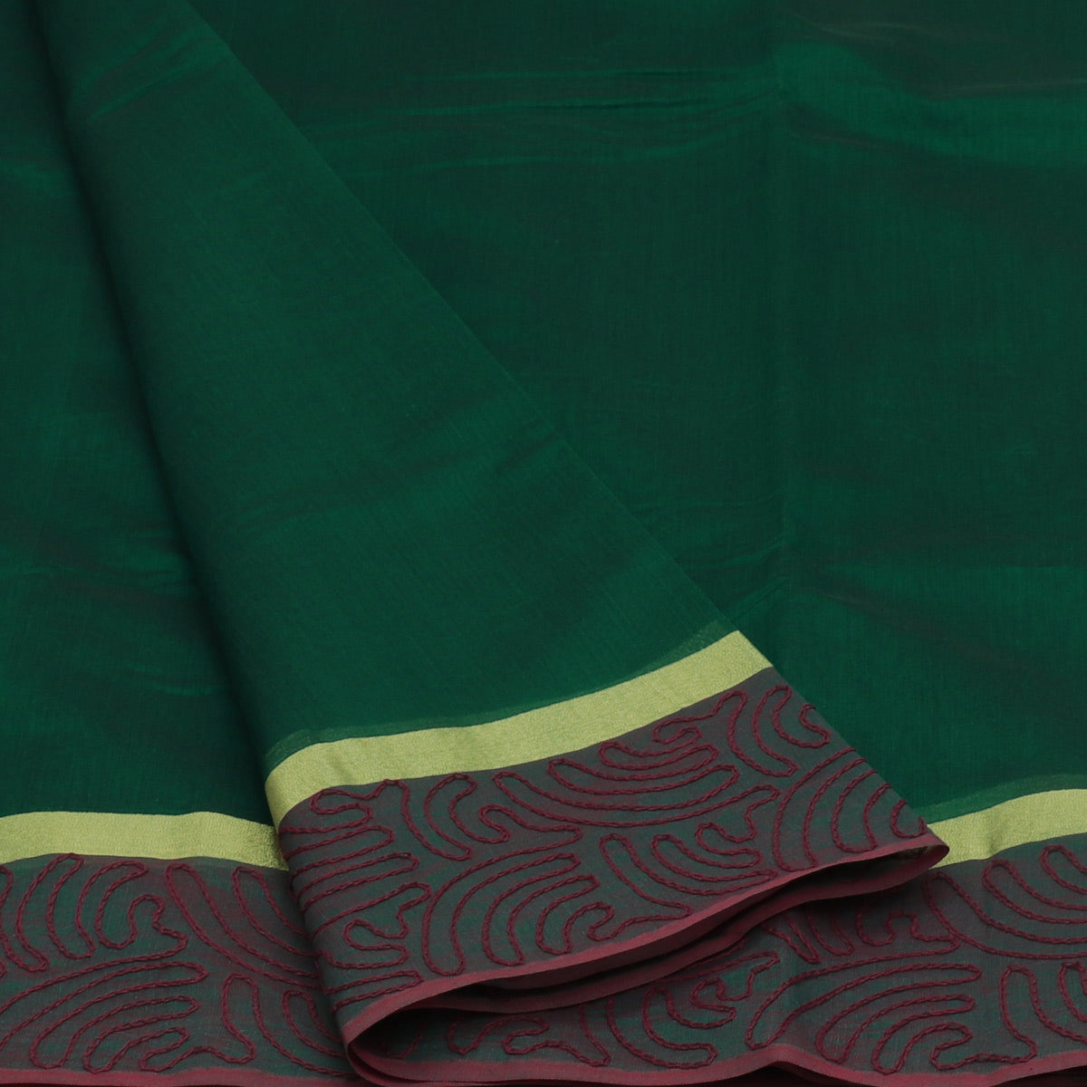 Mercerised Cotton Saree Green with Aari work