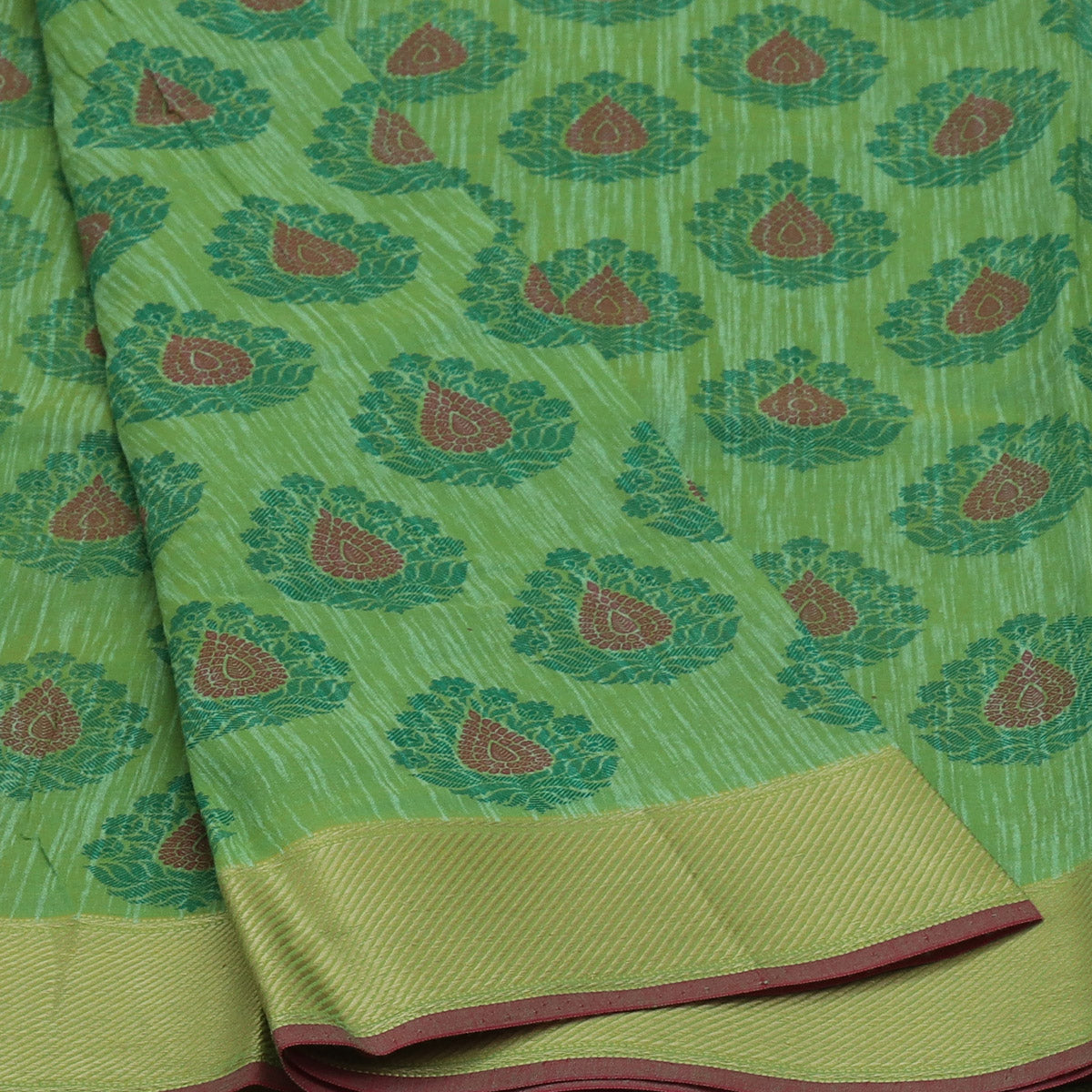 Chanderi Cotton Saree Green Shade with zari border