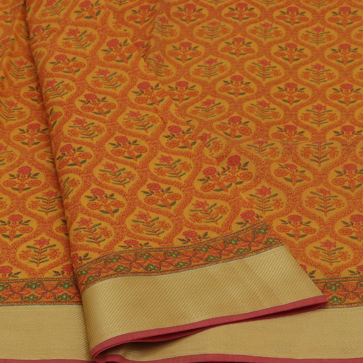 Chanderi Cotton Saree Yellow with zari border