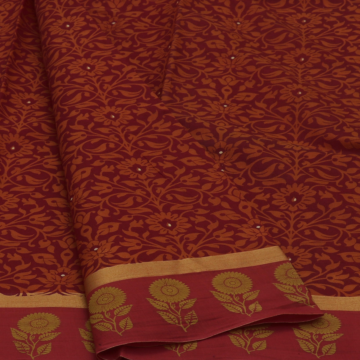 Chanderi Cotton Saree Maroon with simple zari border and Flower border