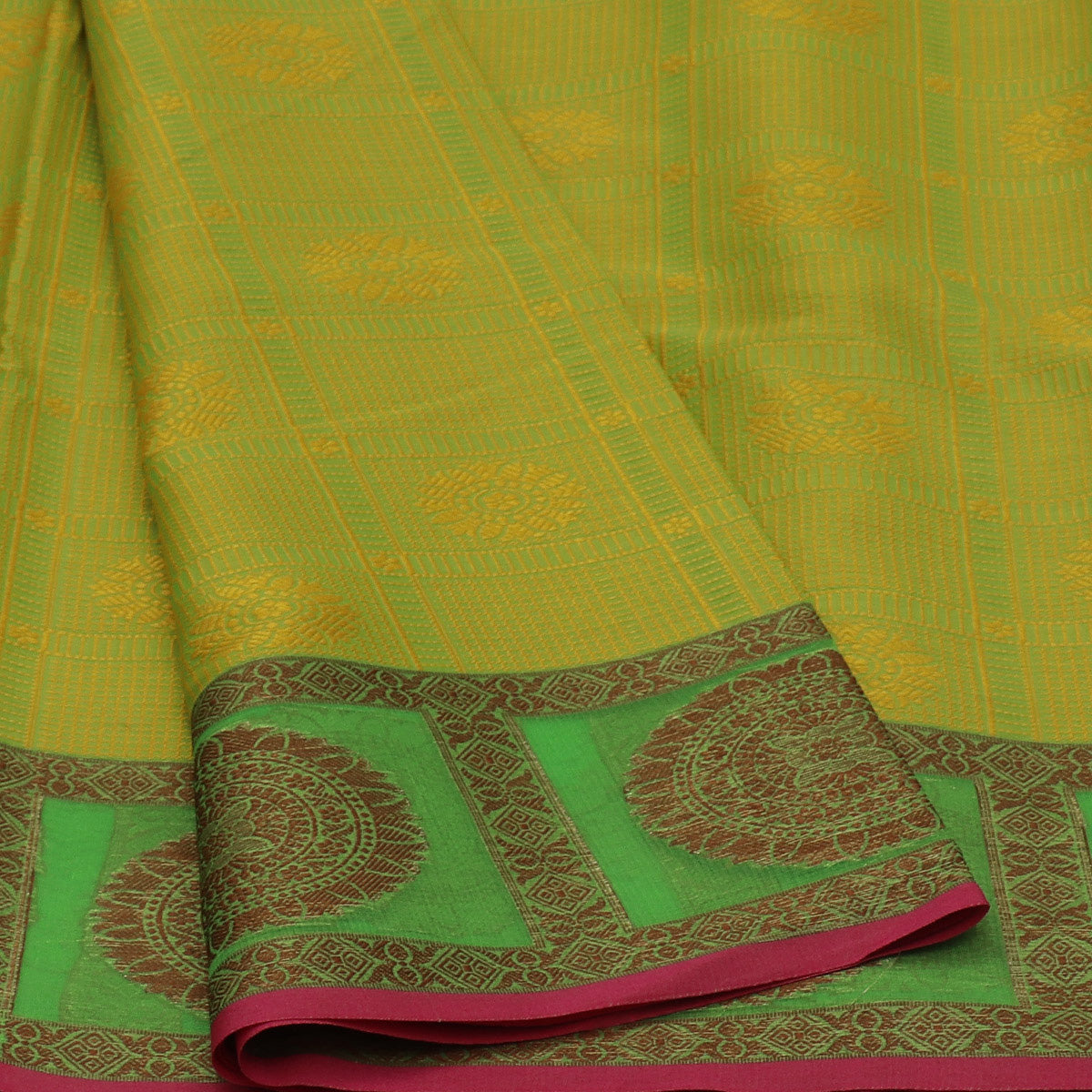 Banarasi Organza Saree Lime Green and pink with Flower border