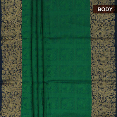 Banarasi Organza Saree Dark Green and Blue with Floral zari border for Rs.Rs. 1930.00 | Banarasi Organza by Prashanti Sarees