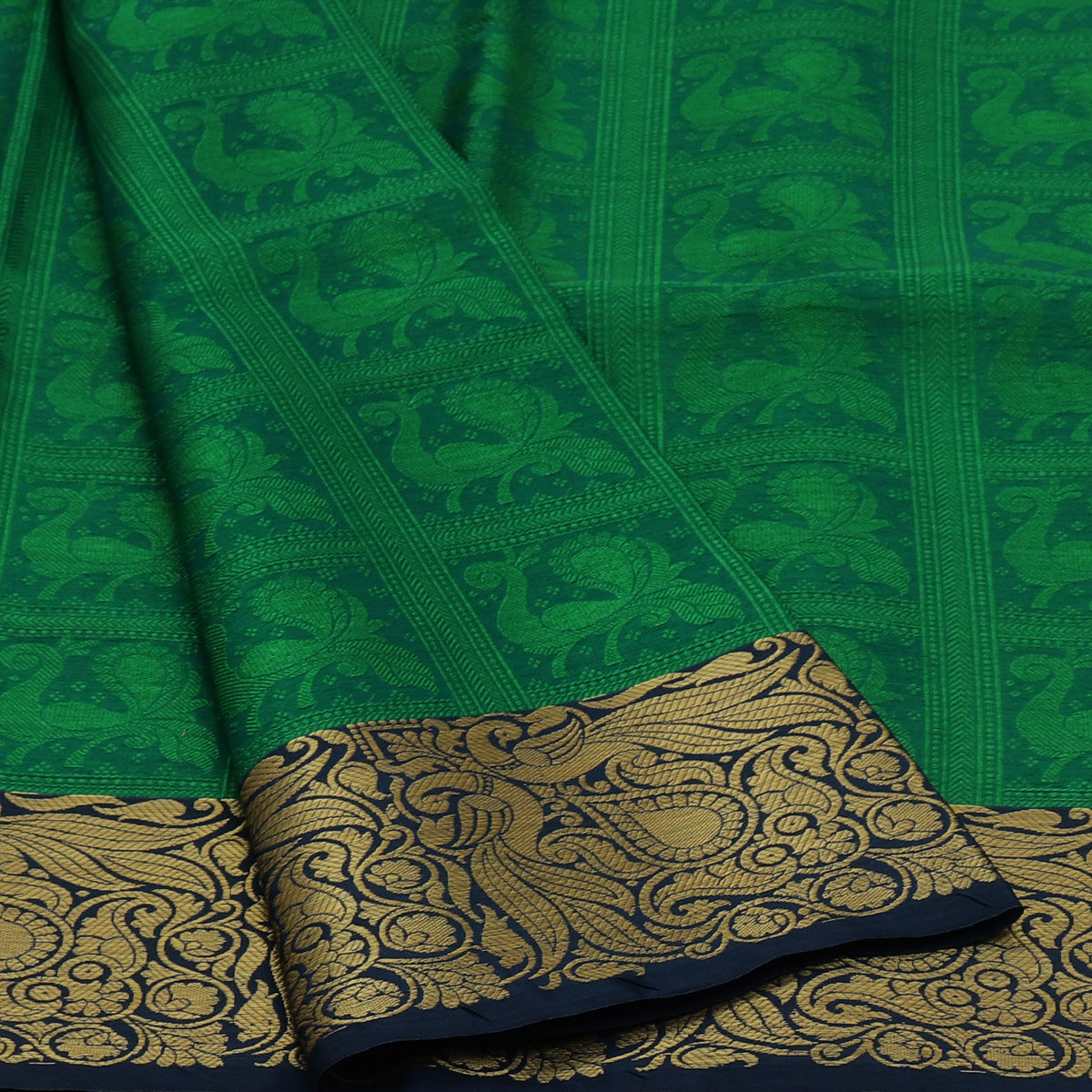 Banarasi Organza Saree Dark Green and Blue with Floral zari border