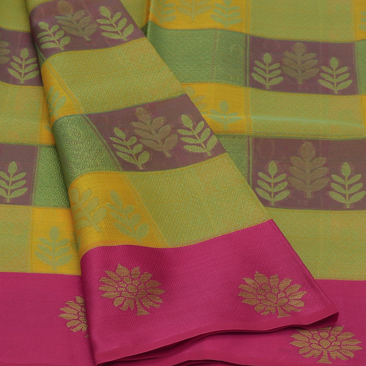 Banarasi Organza Saree Mint Green and Light Yellow Checked with Pink and Flower Zari border