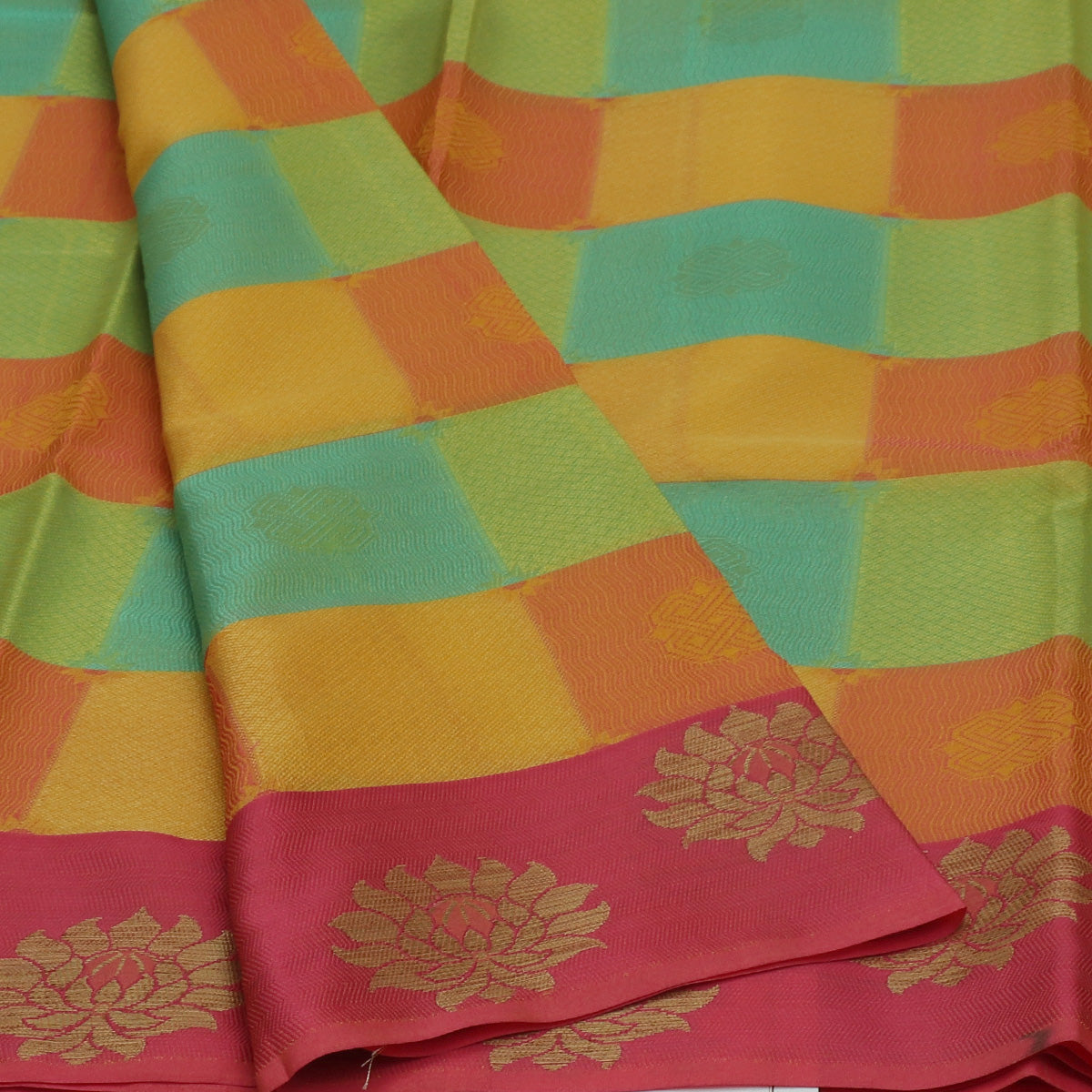 Banarasi Organza Saree lime Green and Yellow Checked with Pink and Flower Zari border