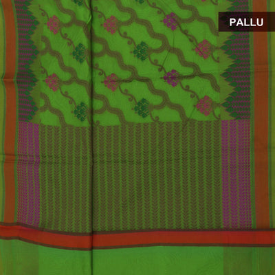 Banarasi Organza Saree Parrot Green and Orange with Simple border