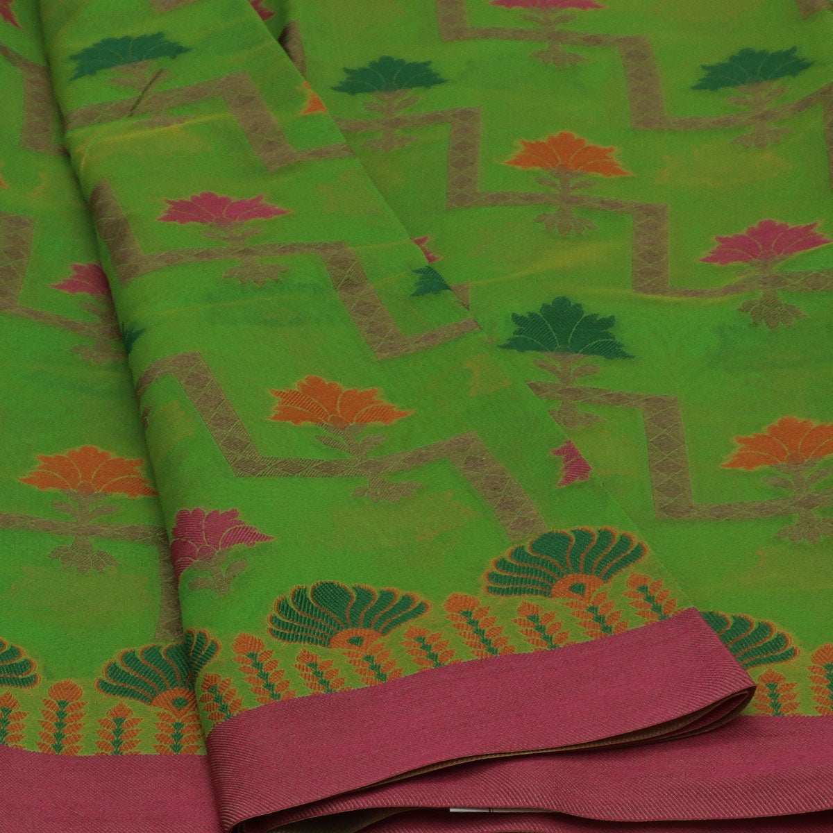 Banarasi Organza Saree Light Green and Pink with Simple border