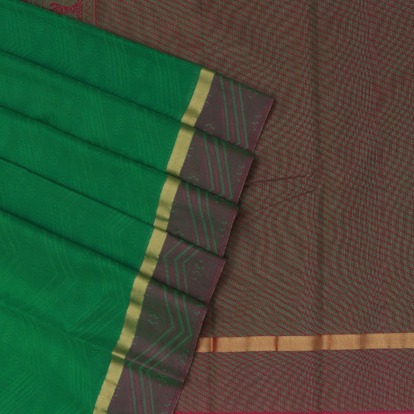 Kora silk saree Green and Pink with wave and zari border