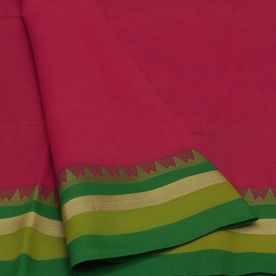 Mercerised Cotton saree Pink and Parrot Green with temple and zari border