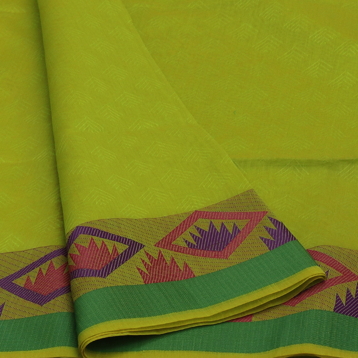 Mercerised Cotton saree Lime Green and Green with temple border