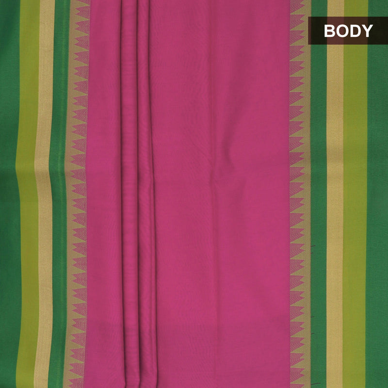 Mercerised Cotton saree Pink and Green with temple and zari border