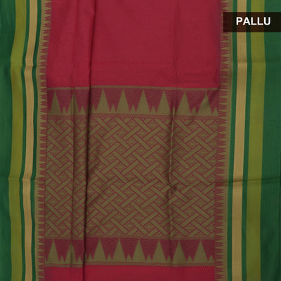 Mercerised Cotton saree peach and Parrot Green with temple and zari border