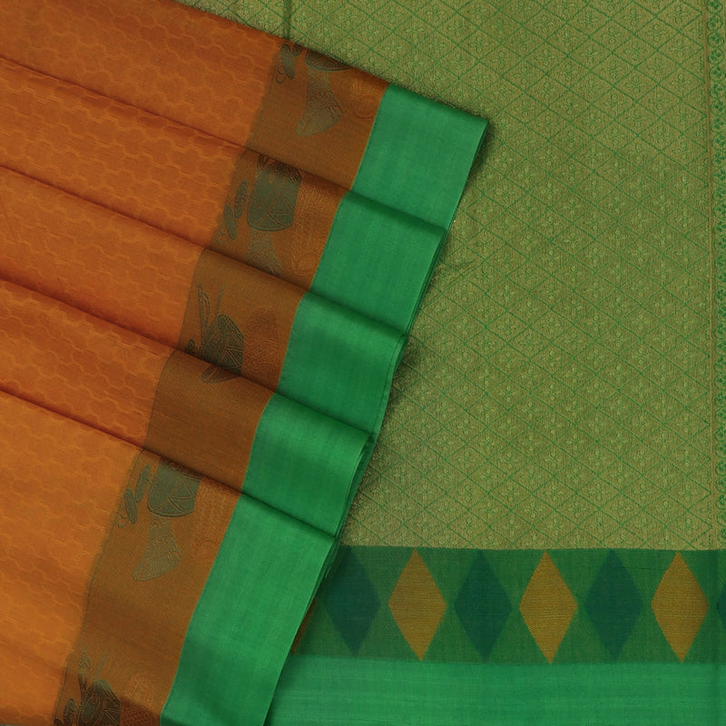 Kora silk saree Yellow and Parrot Green with Instrumental border