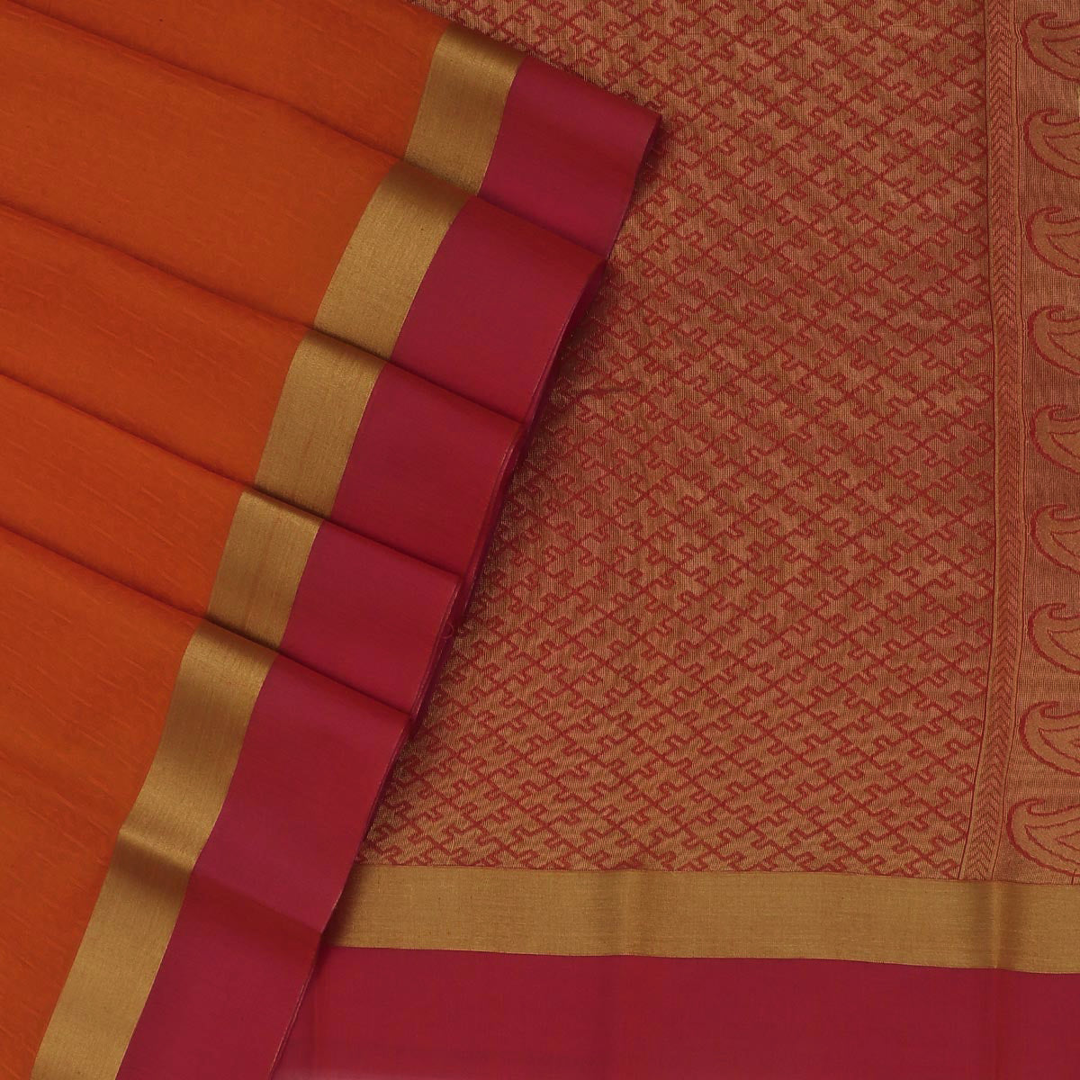 Kora silk saree Orange and pink Shade with zari border