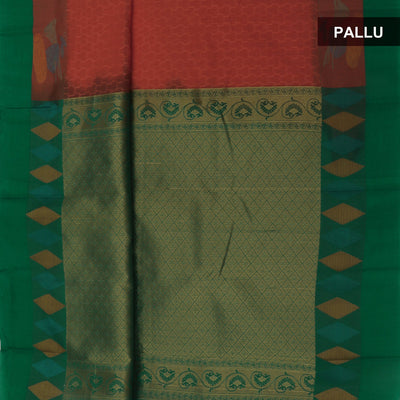 Kora silk saree Orange and Green with Instrumental border