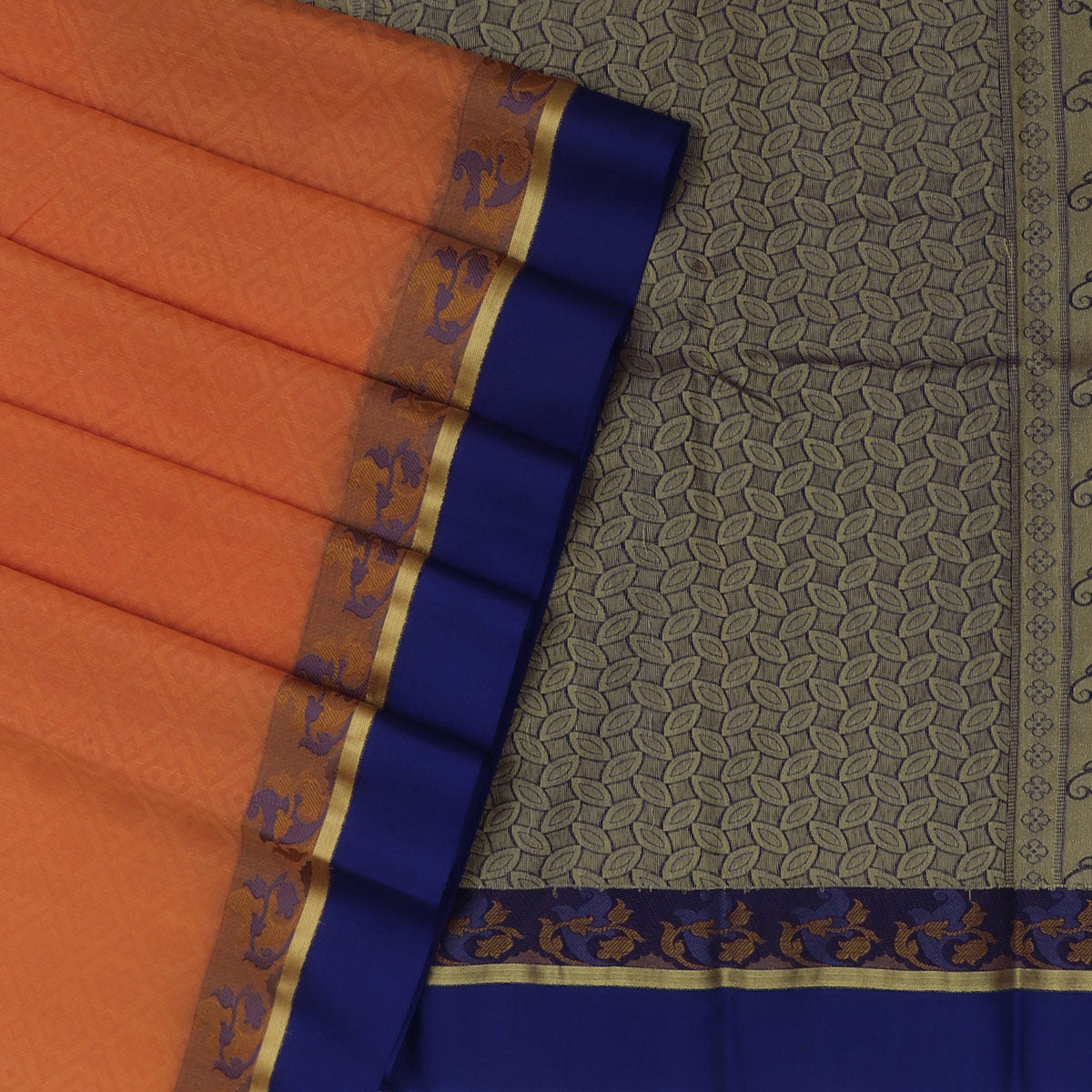 Kora silk saree Orange and Blue with Floral border